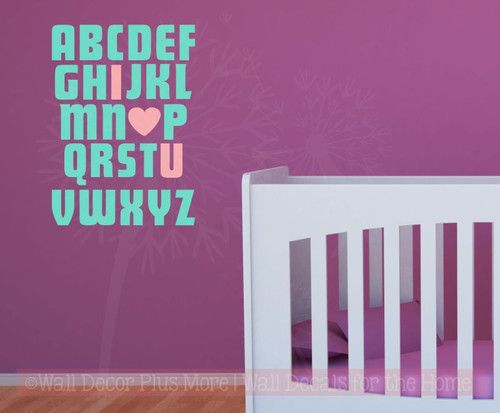 Wall Stickers I LOVE YOU Alphabet Nursery Vinyl Decals Art Bedroom Art Home Decor-Mint, Carnation
