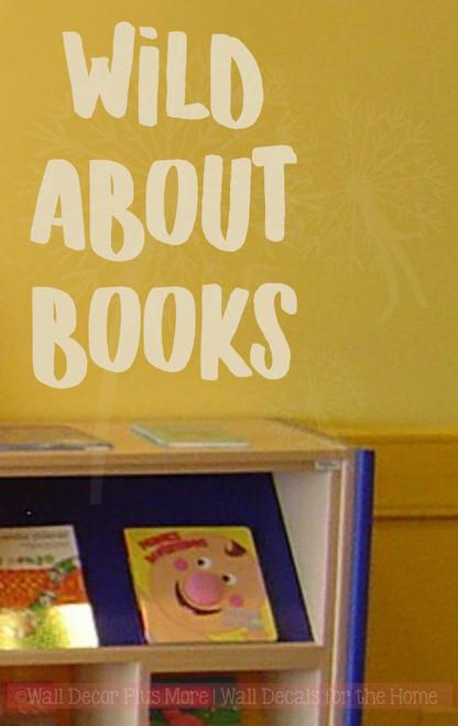 Wild About Books School Vinyl Lettering Wall Art Sticker Decals Classroom Decor Quote Beige