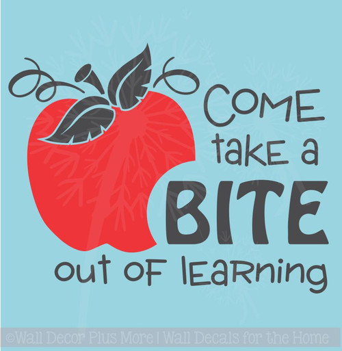 Take A Bite out of Learning with Apple Wall Vinyl Decals Sticker Classroom Art Quote, 2-Color