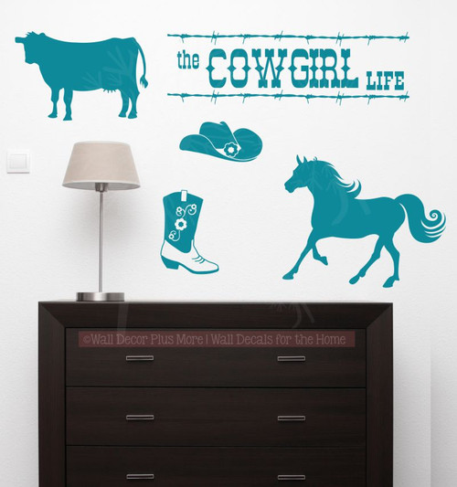 The Cowboy Cowgirl Life Set Western Vinyl Wall Decals Room Decor-Teal