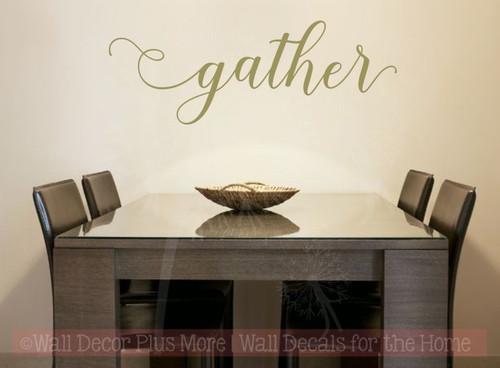 Gather Handwritten Font Vinyl Lettering Fall Wall Decal Stickers-Metallic Gold