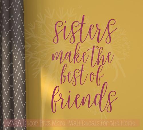 Sisters Best of Friends Vinyl Lettering Wall Decals Sticker Girls ...
