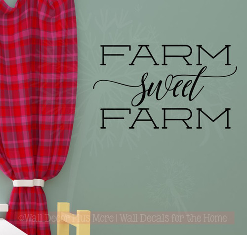 Farm Sweet Farm Vinyl Stickers Wall Decals Farmhouse Quotes-Black
