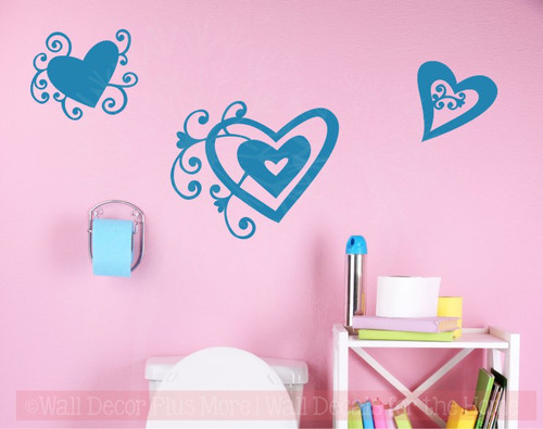 Heart Swirls Vinyl Art Decals Wall Stickers Girls Room Décor 3pc Set-Bayou Blue