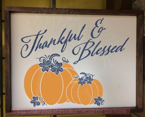 Thankful Blessed Pumpkins Autumn Fall Wall Decals Vinyl Stickers-Deep Blue, Rust Orange