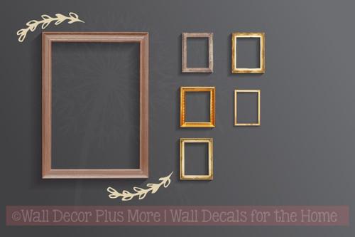 Laurel Floral Elements and Pieces Vinyl Art Stickers Wall Decals-Beige