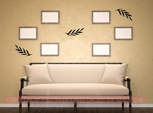 Laurel Wreath Leaves Elements Vinyl Art Decals Floral Wall Stickers-Black