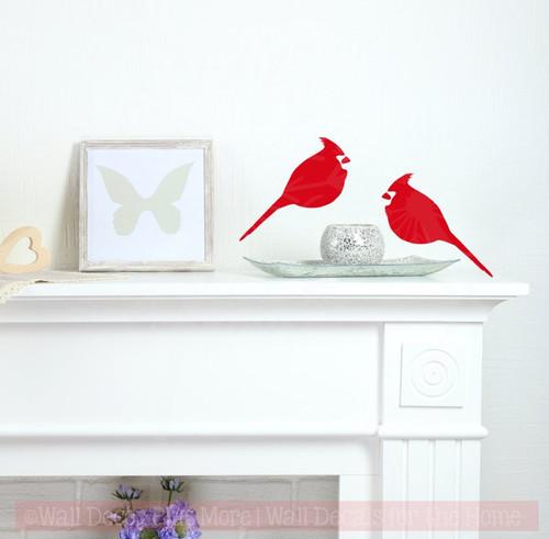 Cardinal Set of 2 Bird Wall Decals Vinyl Art Christmas Home Decor-Cherry Red