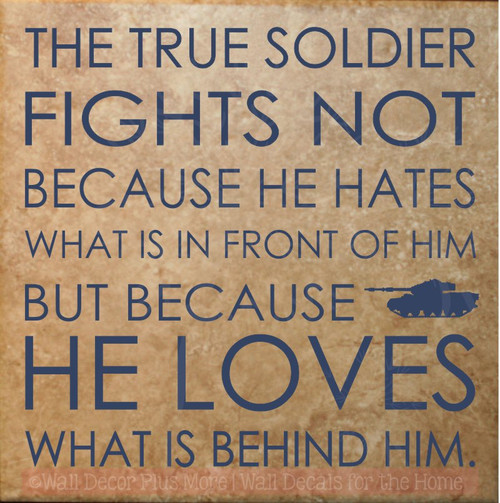 A True Soldier Vinyl Lettering Military Loves Family Wall Sticker Quotes-Deep Blue