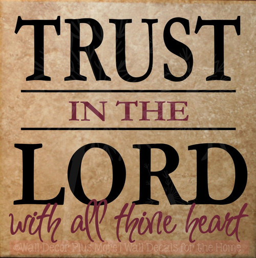 Trust the Lord Wall Decals Saying Vinyl Letters Religious Home Decor-Black, Burgundy