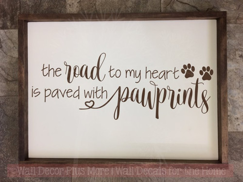 Road to Heart Paved with Pawprints Vinyl Letters Pet Wall Stickers-Chocolate Brown