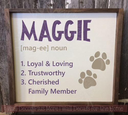Pet Custom Tile with Name Family Definition Vinyl Decals Wall Stickers-Plum, Tumbleweed