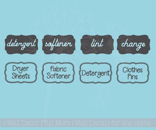 Laundry Room Labels Wall Art Jar Stickers Set of 4 Vinyl Decals, 2 Options