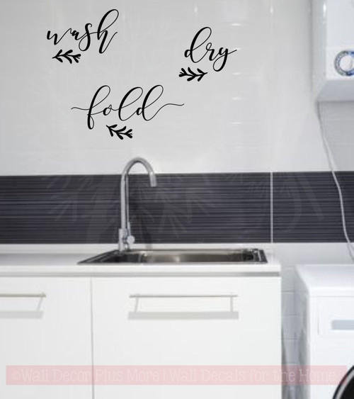 Wash Dry Fold Handwritten Laundry Room Words Wall Decals Vinyl Decor-Black