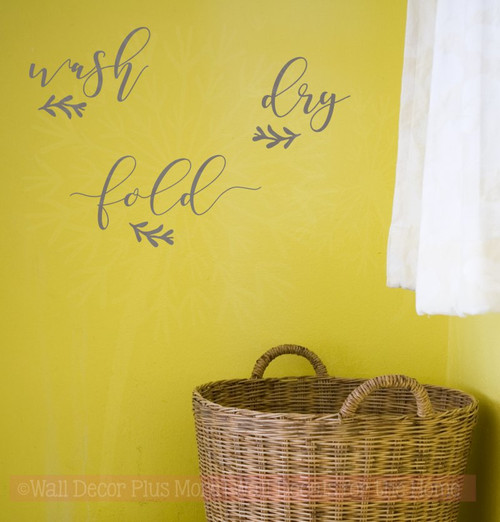 Wash Dry Fold Handwritten Laundry Room Words Wall Decals Vinyl Decor
