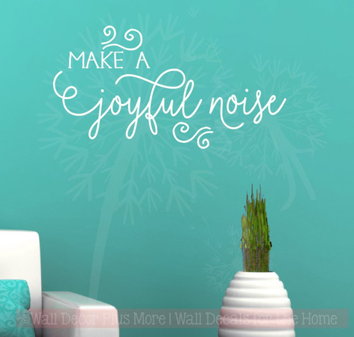 Make A Joyful Noise Holiday Vinyl Lettering Christmas Wall Decals-White