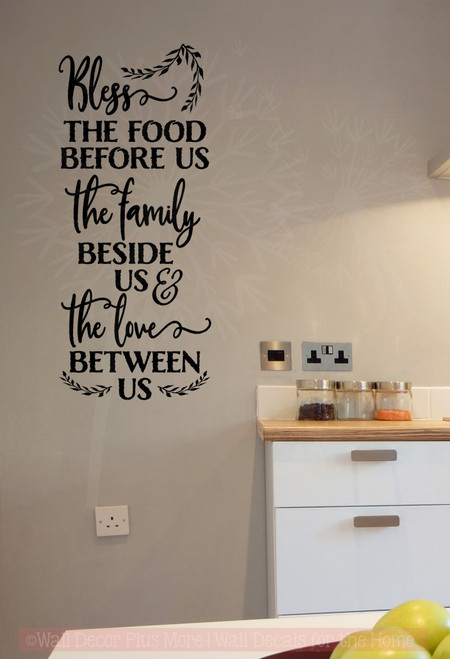 ... Bless This Food Family Love Wall Words Sticker Kitchen Decor  Quotes Black ...