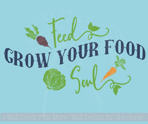 Grow Your Food Kitchen Wall Decals Farmhouse Decor Vinyl Letters Art