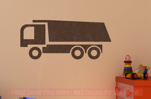 Dump Truck Vinyl Sticker Art Boy Bedroom Decor Wall Sticker Decals-Chocolate