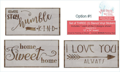 Stencil Sticker Decals for 12x24 for Board Wood Signs, Option 1