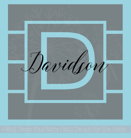 Square Stripe Monogram with Name Vinyl Decal Personalized Wall Stickers