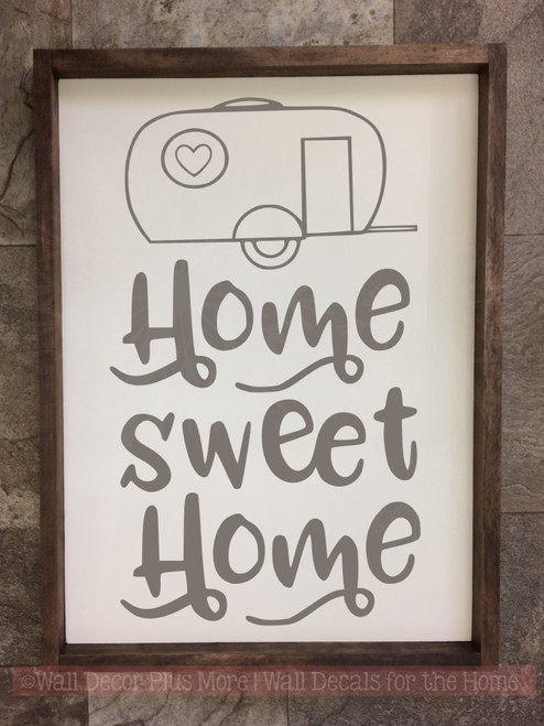 ... Camper Home Sweet Home Vinyl Letters Stickers RV Wall Quote Decals  Storm Gray ...