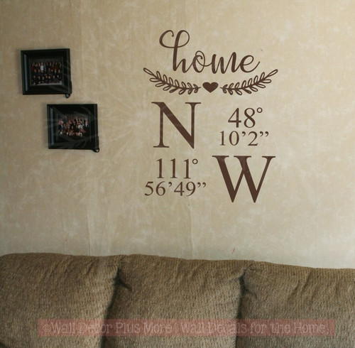 Home or Farm Coordinates Laurel Wreath Farmhouse Decor Wall Decal Sticker-Chocolate