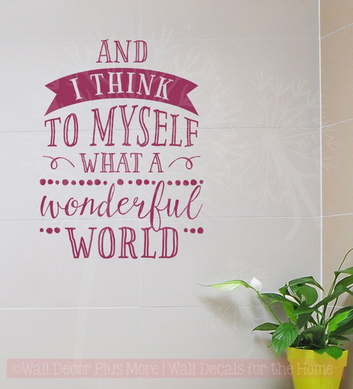 What A Wonderful World Vinyl Letters Inspirational Wall Sticker Decals-Berry