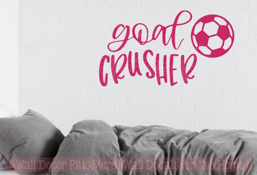 ... Goal Crusher Vinyl Letters Soccer Wall Stickers Sports Bedroom  Decor Hot Pink ...