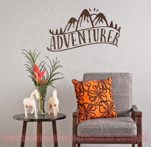Adventurer Vinyl Art Stickers Nature Lover Wall Décor Camper Decal Quotes-Chocolate