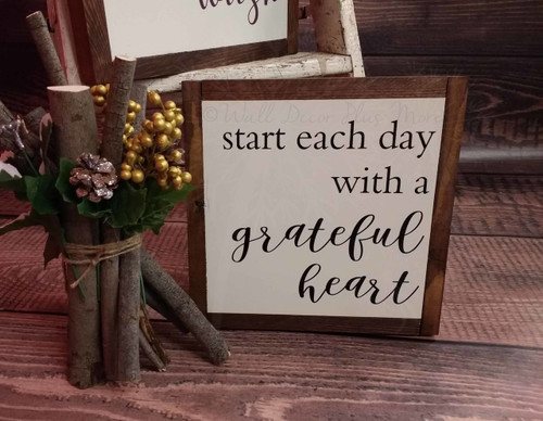 Framed Wood Sign Start Each Day Quote, Hanging Wall Art-Black
