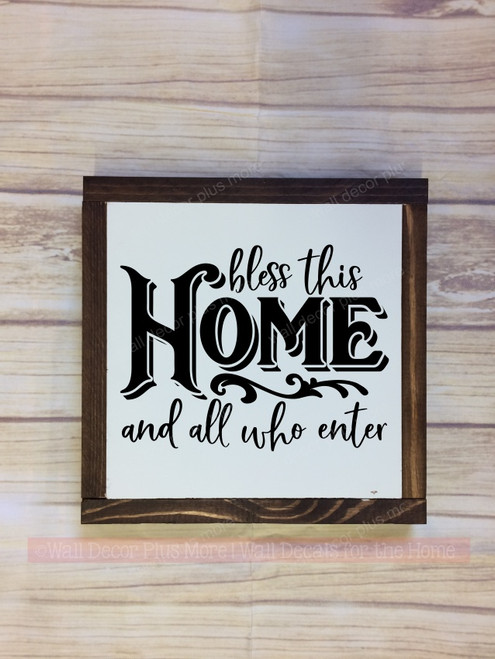 Framed Wood Sign Bless This Home Vinyl Sticker Quote Wall Art-Black