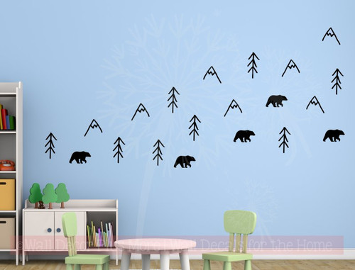Woodland Bears Trees Mountains Nursery Animal Prints Vinyl Art Decals Black