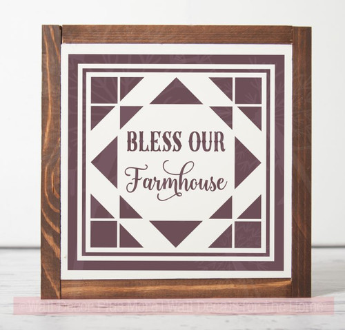 Bless Our Farmhouse Vinyl Sticker Wall Art Decals With Quilt  Pattern Eggplant
