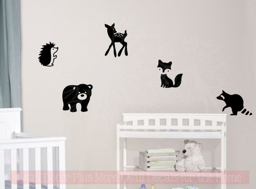 Baby Woodland Animals Silhouette Wall Art Decals Stickers for Nursery Decor-Black