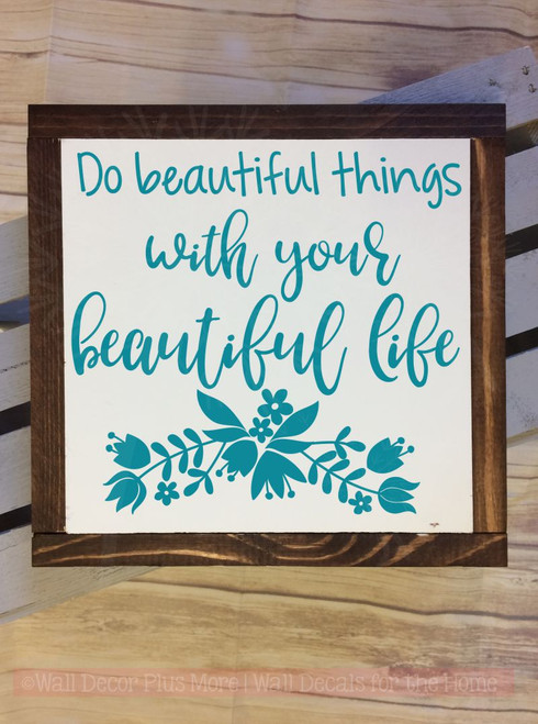 Beautiful Life Inspirational Quotes Vinyl Letters Decals for Graduation-Teal