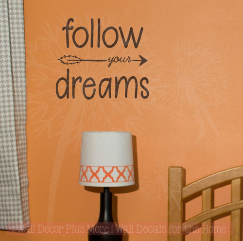 Follow Your Dreams Vinyl Art Decals Motivational Quotes for Home Decor-Chocolate