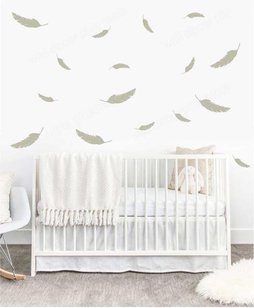 Feathers Wall Vinyl Decals Sticker Shapes Modern Nursery Wall Art