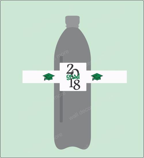 Graduation Water Bottle Label Stickers Grad 2018 Set of 8 Green