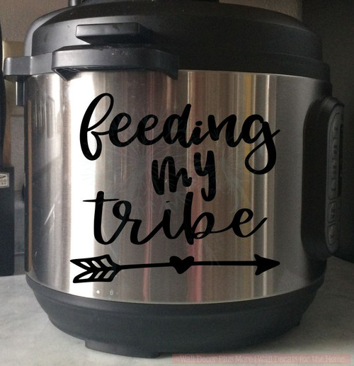 Feeding My Tribe Instant Pot Mom Decal Vinyl Sticker Letters for Kitchen-Glossy Black, 8qt pot
