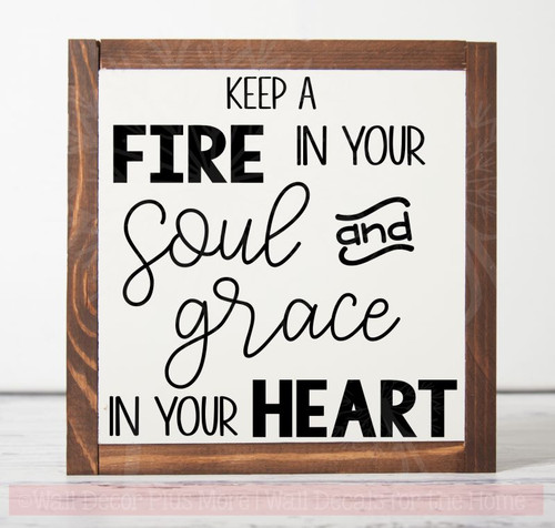 Fire Soul Grace Heart Wall Decal Stickers Religious Vinyl Quotes-Black