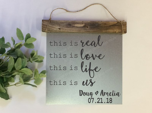Personalized With Names and Date - Metal with Wood Topper - This is Real This is Us Framed Wood or Metal on wood Sign with Vinyl Sticker Quote, Wall Art, 3 Sign Choices-Personalized in Black