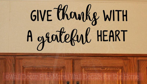 Give Thanks Grateful Heart Kitchen Wall Decals Gratitude Vinyl Letters-Black