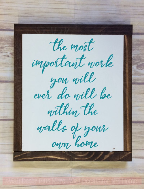 Most Important Work Vinyl Lettering Decals Wall Stickers For Home Decor Teal