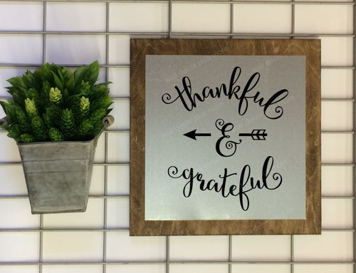 Metal on Wood Thankful and Grateful Wood Sign Metal with Quote, Hanging Wall Art, 3 Sign Choices-Black
