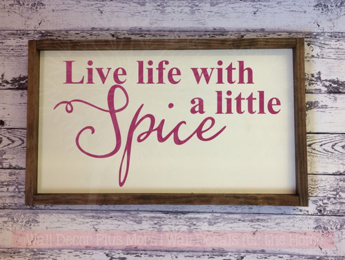 Live Life With Spice Lettering Quotes Vinyl Wall Decals Sticker Berry