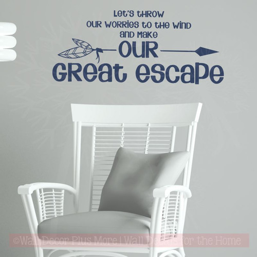 Make Our Great Escape Vinyl Wall Decals Sticker Words for Home Decor-Deep Blue