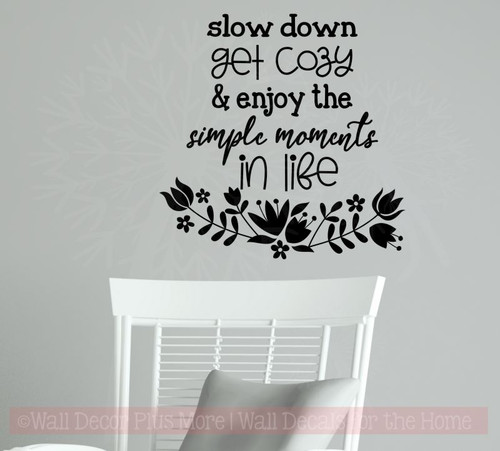 Enjoy Simple Moments In Life Wall Art Stickers Inspiring Vinyl Decals-Black