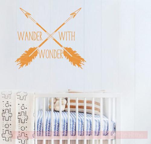 Wander With Wonder Arrows Vinyl Art Decals Camper Wall Stickers Quote-Rust Orange
