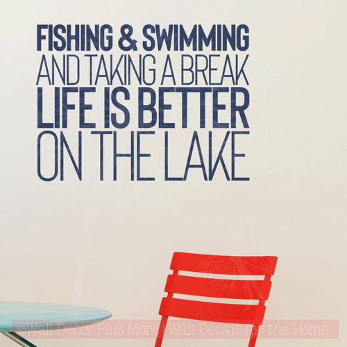 Life Is Better On The Lake Vinyl Lettering Stickers Summer Wall Quotes-Deep Blue